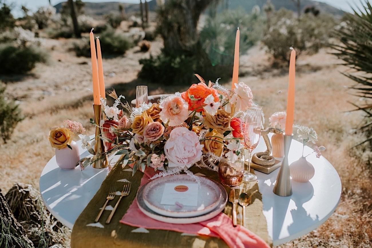 Joshua Tree wedding decoration inspiration, Tables decoration inspiration for your elopement dinner