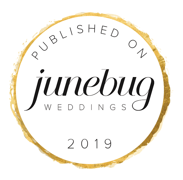 Published On Junebug Weddings Badge White