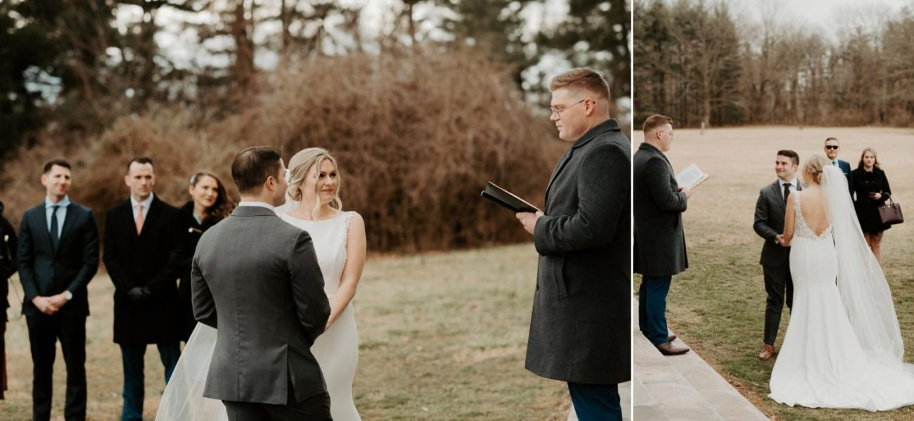 Bride And Groom Exchanging Their Vows At The Princeton Battlefield In New Jersey 10