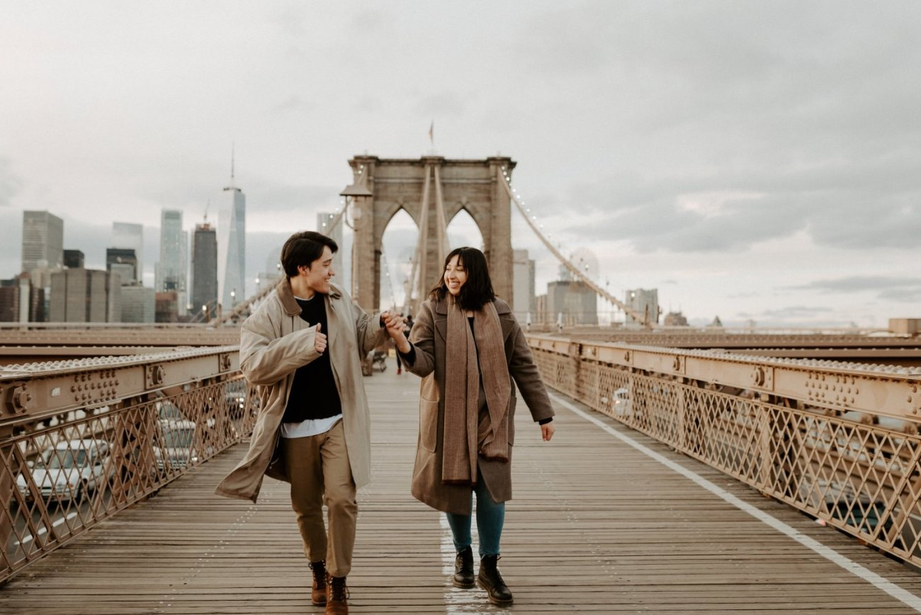 Brooklyn Bridge Sunset Couple Session New York Wedding Photographer NYC Best Engagement Photos Location Anais Possamai Photography 05