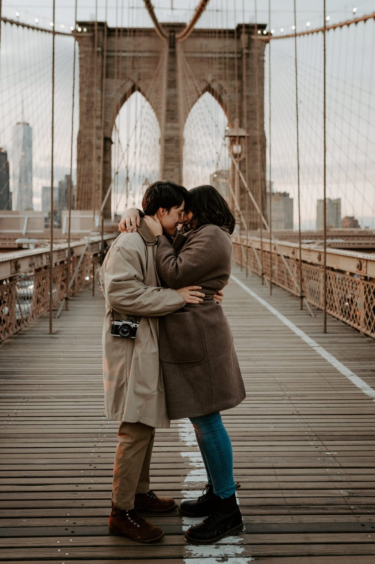 Brooklyn Bridge Sunset Couple Session New York Wedding Photographer NYC Best Engagement Photos Location Anais Possamai Photography 12
