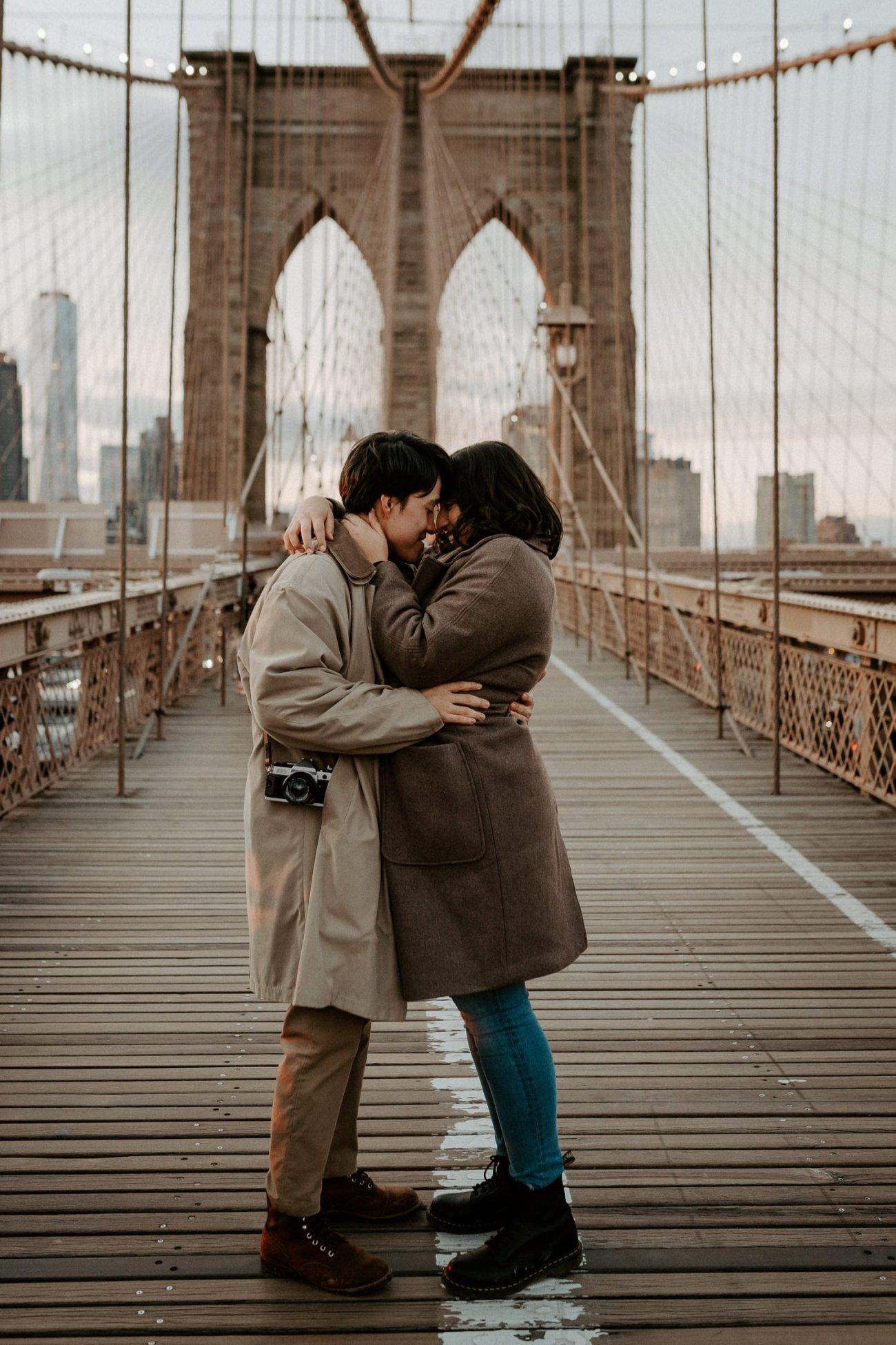 Brooklyn Bridge Sunset Couple Session New York Wedding Photographer NYC Best Engagement Photos Location Anais Possamai Photography 12