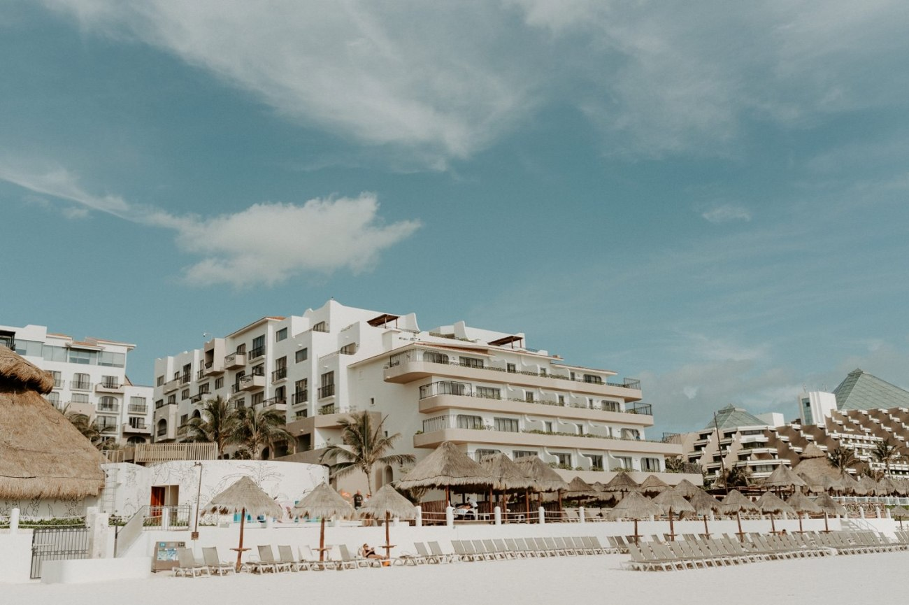 Fiesta Americana Condesa Hotel view from the beach in Cancun Mexico
