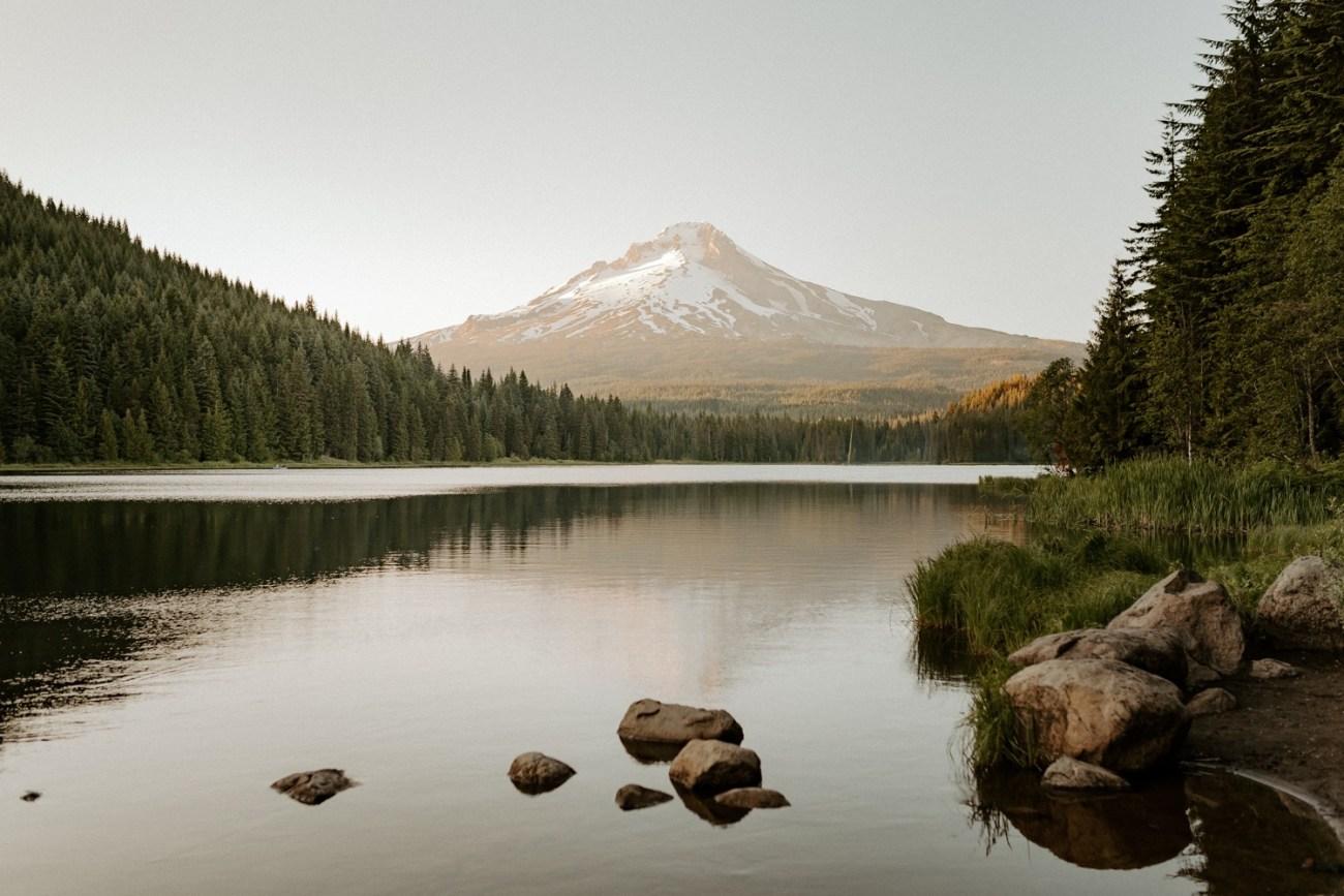 Trillium Lake at Sunset with reflection in the lake. Mount Hood Oregon. Anais Possamai Photography