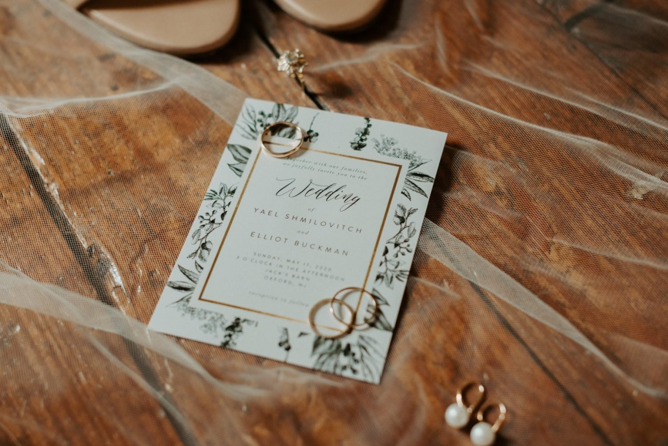Wedding invitations set with wedding bands. Jacks Barn Oxford New Jersey Wedding New Jersey Wedding Photographer NJ Wedding Venue Rustic Barn Wedding Anais Possamai Photography 003