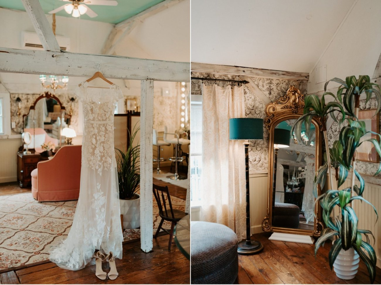 Wedding dress hanging in Bridal suite at Jacks Barn Oxford New Jersey. Jacks Barn Wedding New Jersey Wedding Photographer NJ Wedding Venue Rustic Barn Wedding Anais Possamai Photography 004