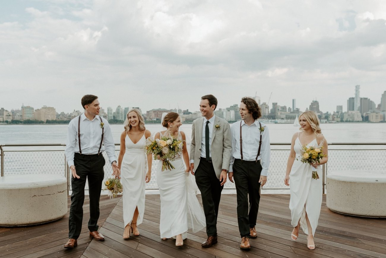 Wedding party photos at the Pier A in Hoboken New Jersey. Antique Loft Hoboken Wedding New Jersey Wedding Photographer Anais Possamai Photography 041