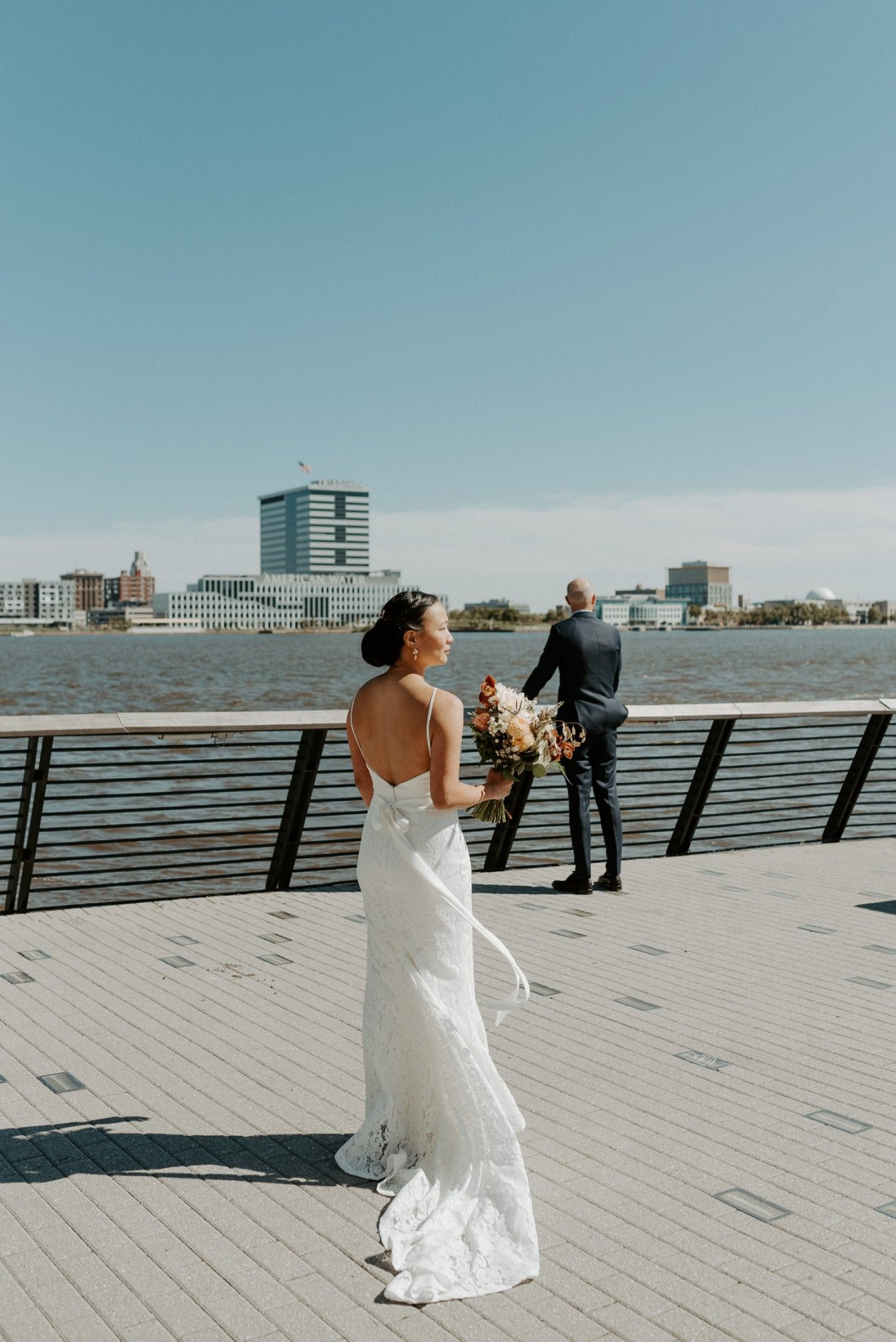 Bride and Groom first look at Penn's Landing in Philadelphia. Independence Seaport Museum Philadelphia Wedding Anais Possamai Photography New Jersey Wedding Photographer 011