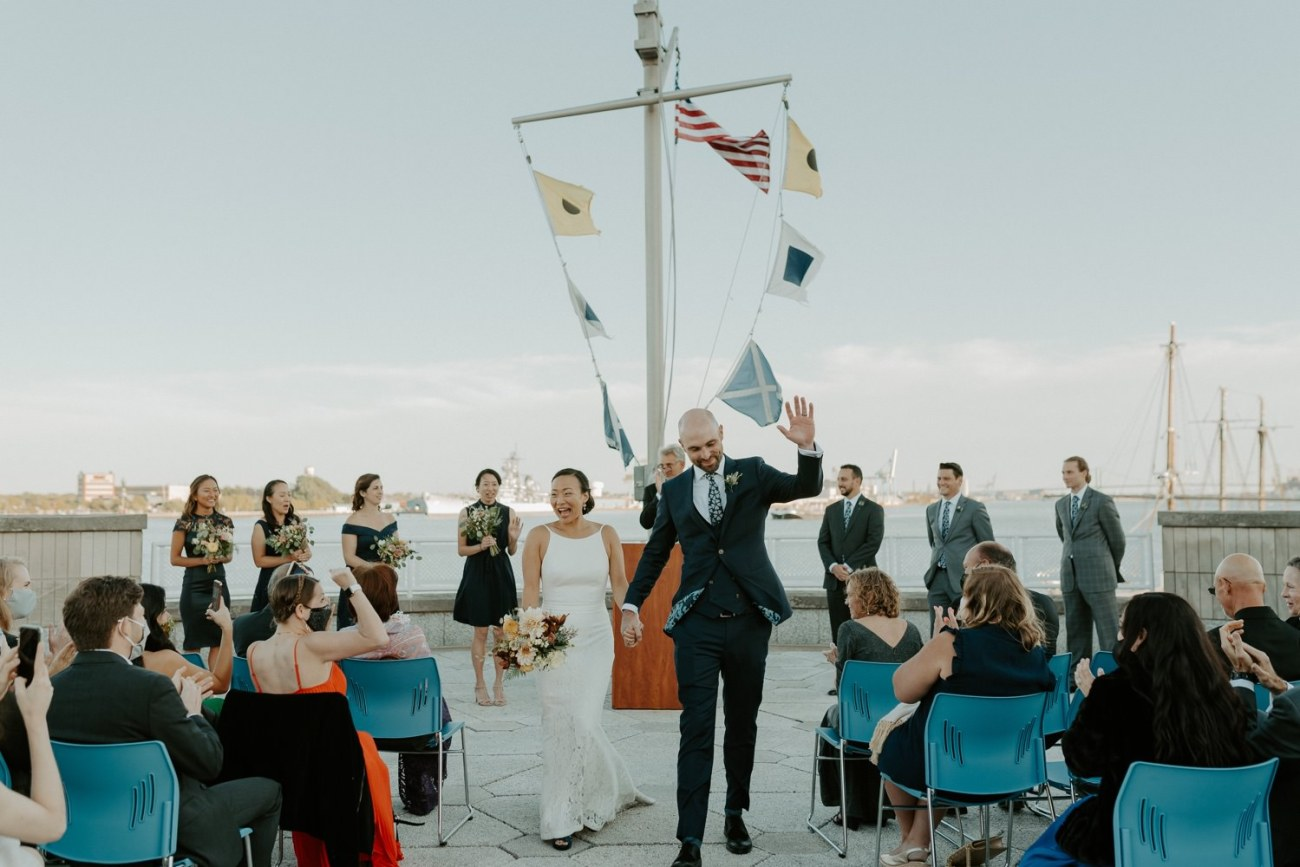 Bride and Groom walking down the aisle at the Independence Seaport Museum Philadelphia Wedding Venue