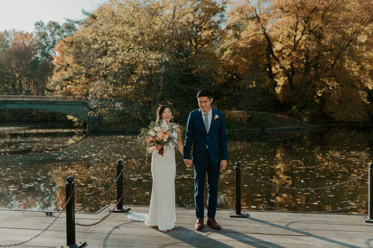 Bride and Groom in Prospect Park Brooklyn for their Bridal Portrait