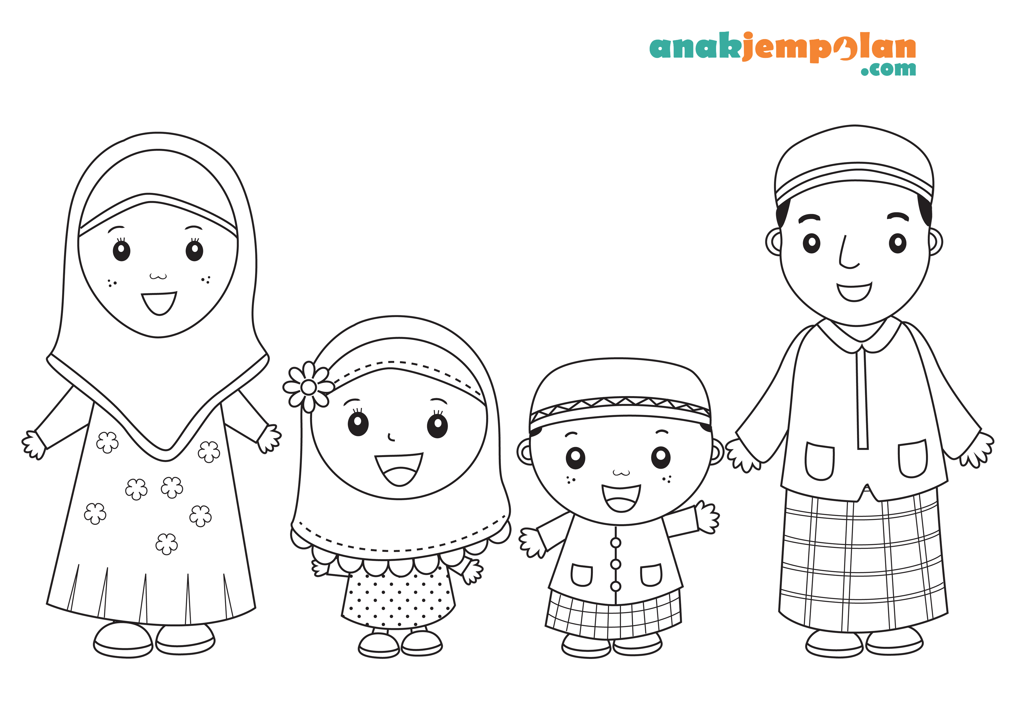 Muslim Family Coloring Page Anakjempolan