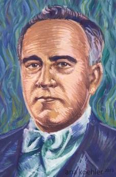 Ilustração de Getúlio Vargas para o folder do curso Dominó de História, do prof. Pedro Dario Lima Lairihoy.