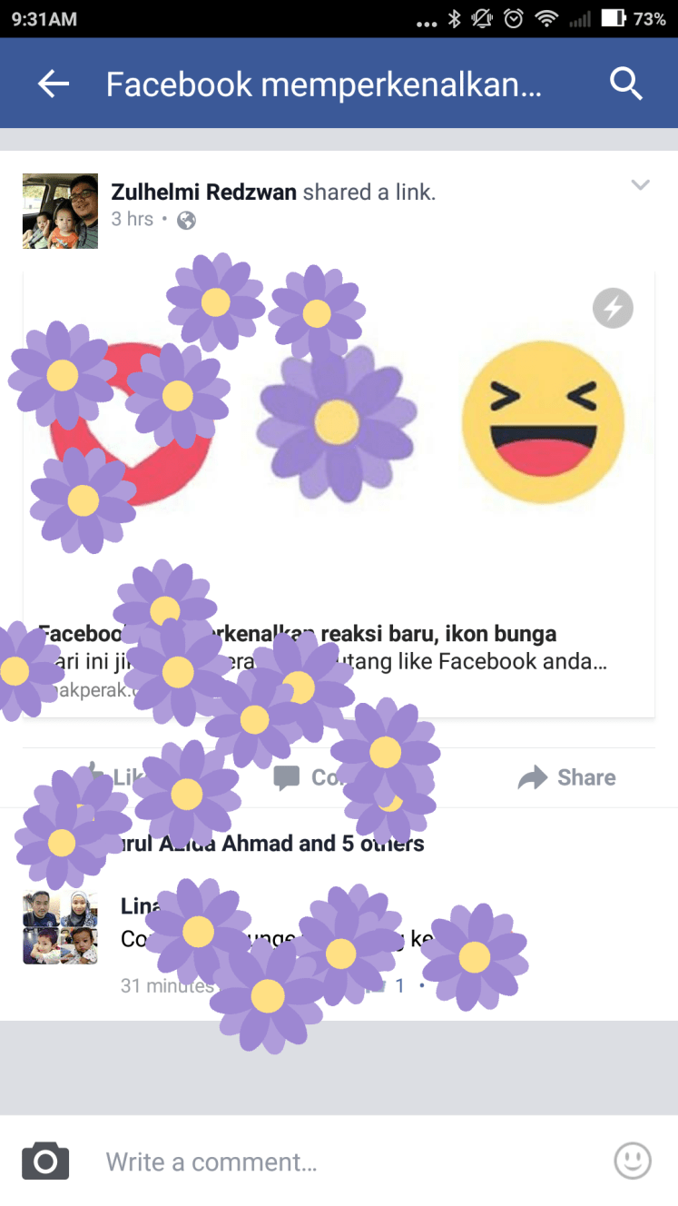 Facebook flower reactions