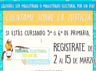 TEV y TEPJF invitan a niñas y niños a participar en el Tribunal Electoral Infantil 2020