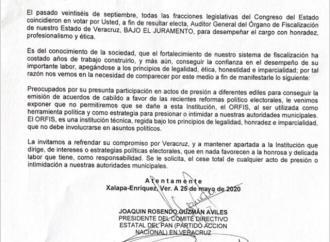 ORFIS SE NIEGA A RECIBIR DOCUMENTOS DE PARTIDOS POLÍTICOS DE OPOSICIÓN