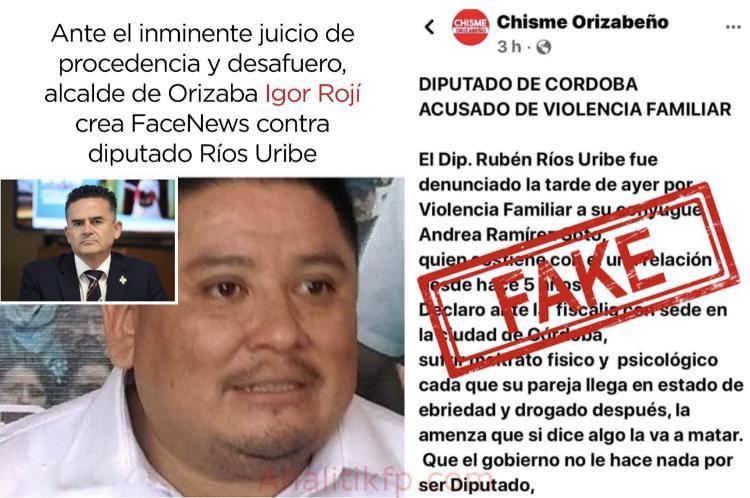 Ante el inminente juicio de procedencia y desafuero, alcalde de Orizaba crea FaceNews contra diputado Ríos Uribe