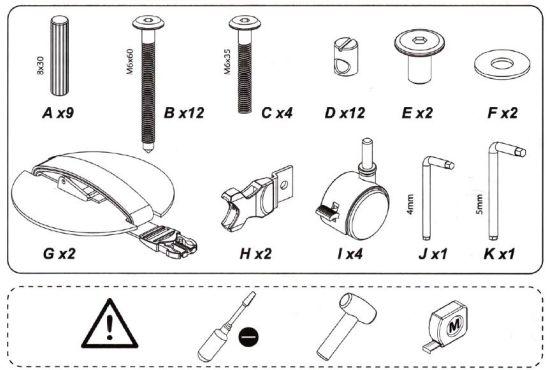 herramientas y piezas montaje cuna colecho