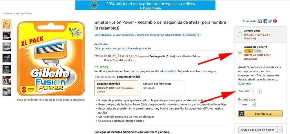 Suscribete y ahorra de Amazon