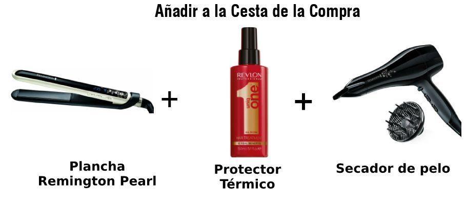 paquete remington plancha de pelo, protector térmico y secador