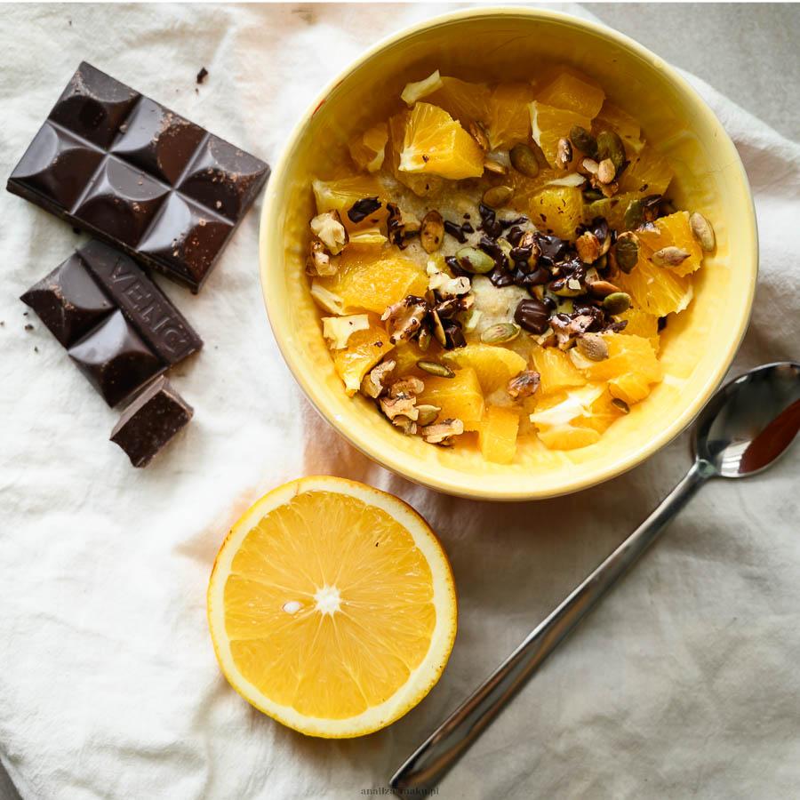 owsianka pomarańczowa z czekoladą