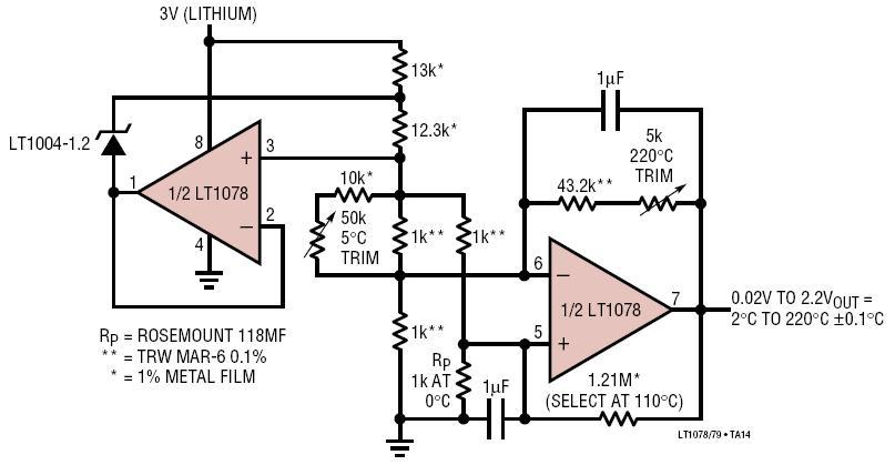 Platinum RTD Signal Conditioner With Curvature Correction