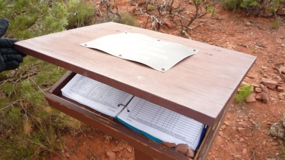 Sign-in book, found at many of the Sedona canyon trails