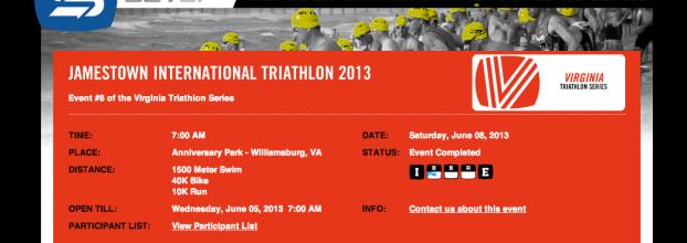 Jamestown International Triathlon 2013 – Race Report