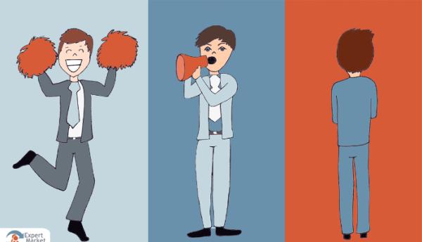 The 3 analysts: cheerleader, amplifier, naysayer, illustration for blog post by Jonathon Gordon / EMI on the IIAR website