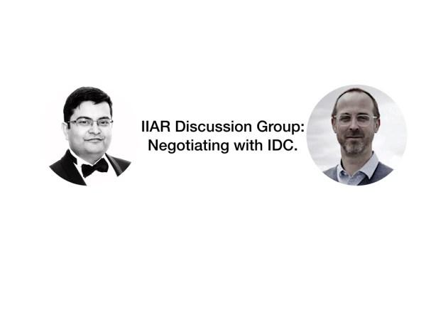 IIAR negotiating with IDC, aniruddho mukherjee, ludovic leforestier,