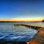 Lake at sunset image