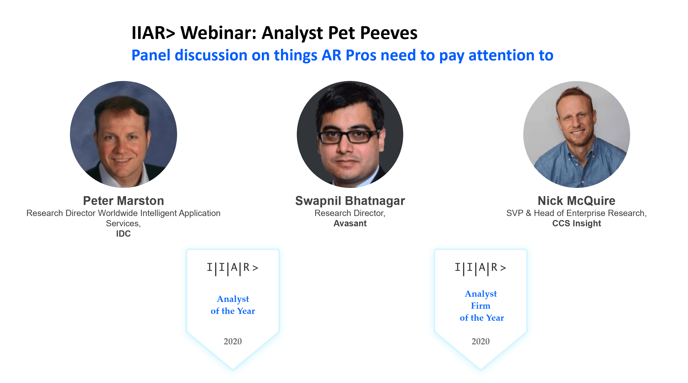 IIAR> Webinar: Analyst Pet Peeves- Things AR Pros need to pay attention to