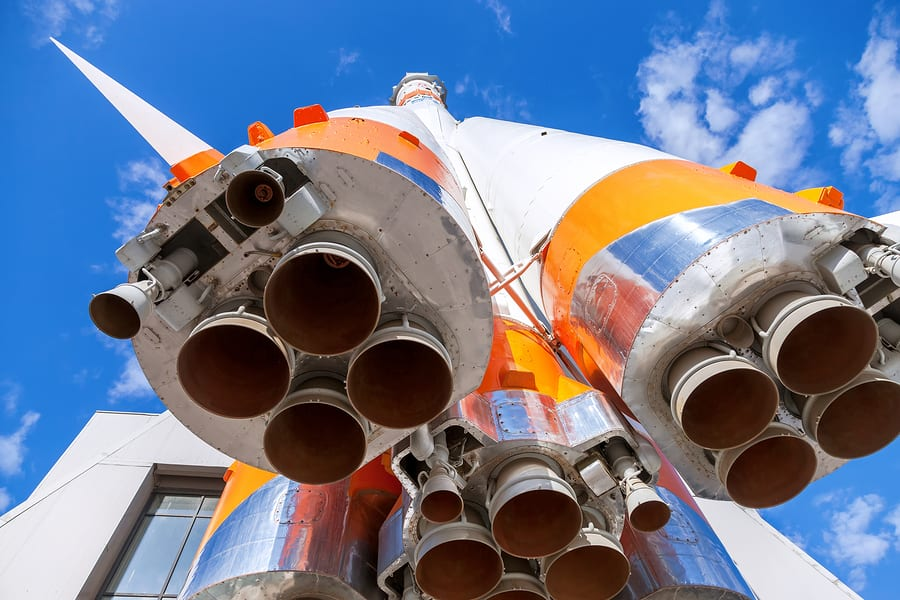 "SAMARA RUSSIA - APRIL 11 2015: Rocket engine of ""Soyuz"" type rocket. Soyuz launch vehicle is the most frequently used launch vehicle in the world"
