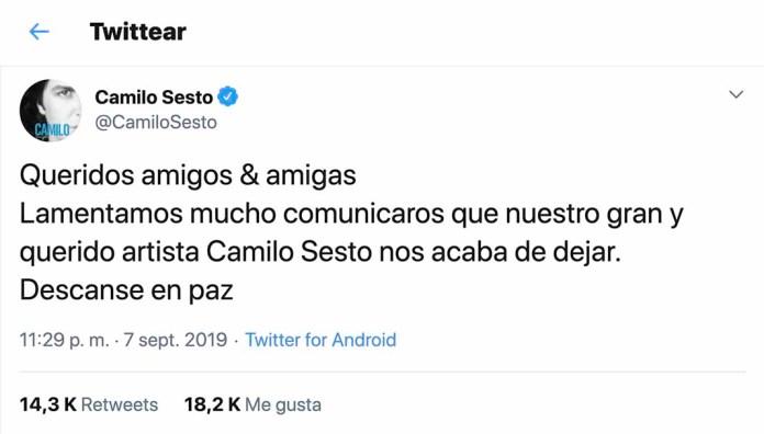 En la cuenta de Twittter de Camilos Sesto se publicó el mismo mensaje
