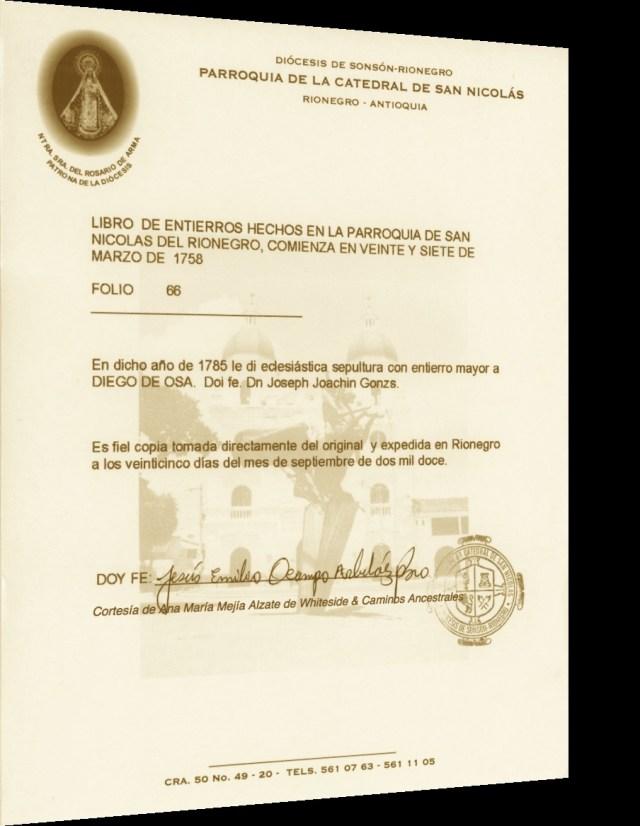 Sepultura con entierro mayor a Diego de Osa- Año 1785
