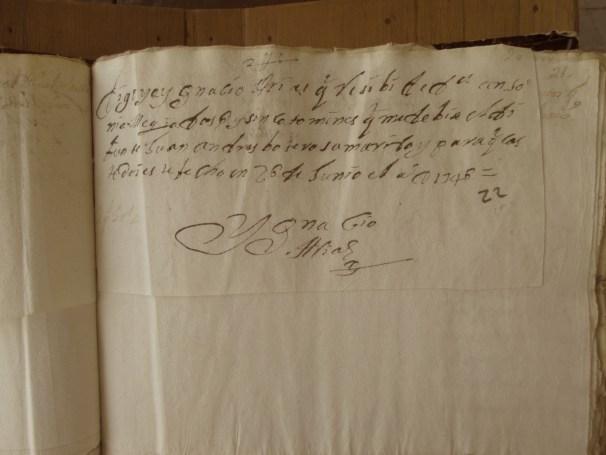 [Folio 22r] Digo yo Ignacio Arias que recibí de doña Antonia Mejía dos pesos y cinco tomines que me debía el difunto Juan Andrés Botero su marido y para que conste doy este hecho en 26 de junio el año de 1746. / [Firma] Ignacio Arias. 2ps 5tts #
