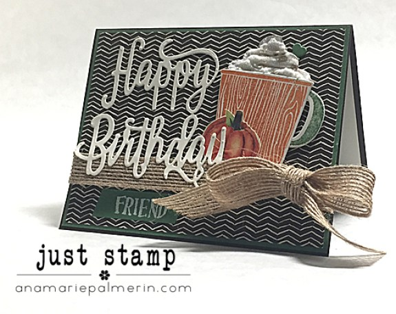 Pumpkin Spice Latte Birthday Card with 3D Whipped Cream