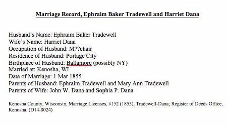 Marriage Certificate, Ephriam Tradewell and Harriet Dana (D14-0024)