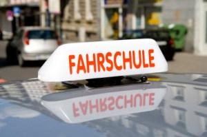 Fahrschule - german driving school car closeup. Fahrschule means Driving school
