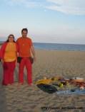 litha, solsticio de verano, al lado del altar en la playa con luna llena, 2013