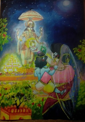 A painting of Krishna and His Mother celebrating Diwali..... (poster color)
