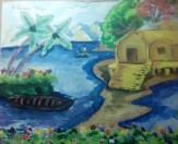A hut at the bank of river....