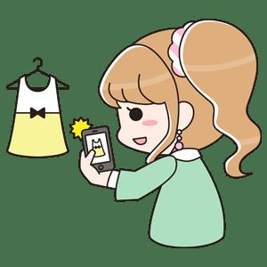 フリマアプリを利用する女の子