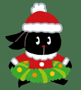 クリスマスの仮装をしたウサギ