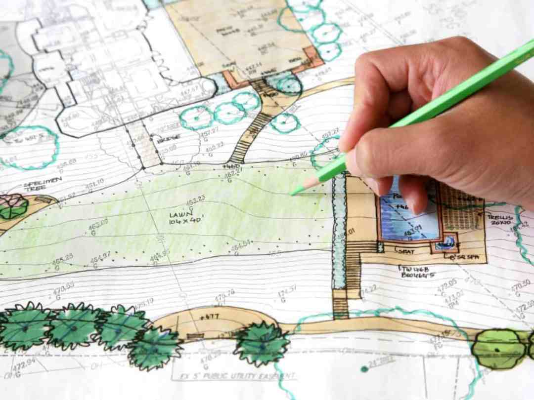 landscape designer scetches design, landscape designer in calgary sketches a landscape design