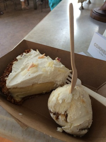 Key lime pie with coconut ice cream