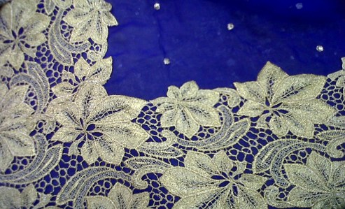 French lace chiffon sari
