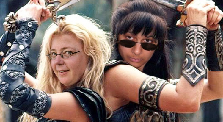 photoshopped women warriors back-to-back wielding swords