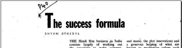 The success formula by Shyam bengal