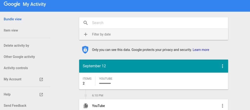 Delete Google Activity