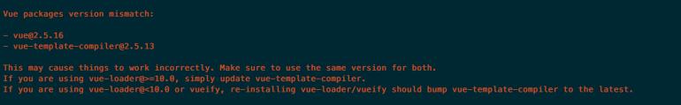 vue package version mismatch